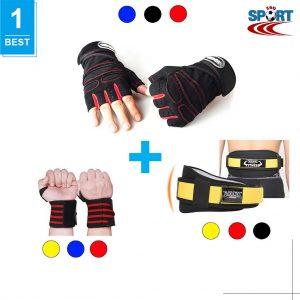 [COMBO-11] Găng tập gym + Quấn cổ tay + Đai bảo vệ lưng