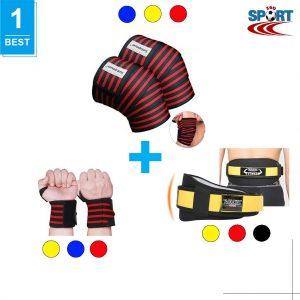 [COMBO-12] Quấn gối tập gym + Quấn cổ tay + Đai bảo vệ lưng
